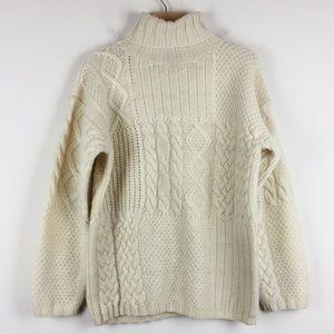 Vintage chunky knit turtleneck cream off white
